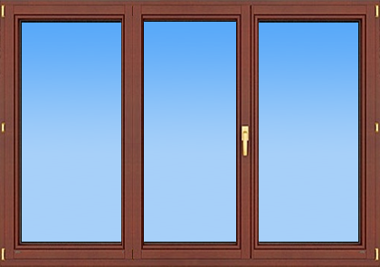 деревянное трехстворчатое окно